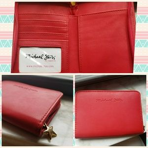 Michael Stars Red Wallet with Gold Star Zipper